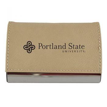 Velour Business Cardholder-Portland State University-Tan