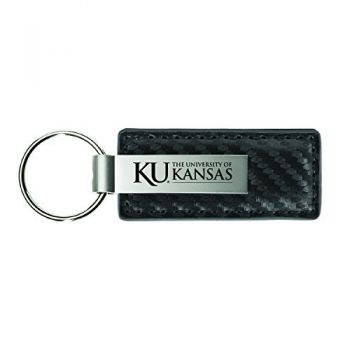 The University of Kansas-Carbon Fiber Leather and Metal Key Tag-Grey