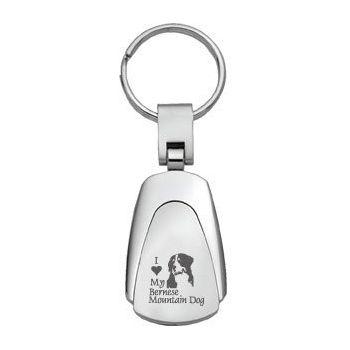 Teardrop Shaped Keychain Fob  - I Love My Bernese Mountain Dog