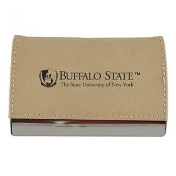 Velour Business Cardholder-Buffalo State University-The State University of New York-Tan