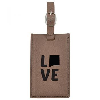 New Mexico-State Outline-Love-Leatherette Luggage Tag -Brown