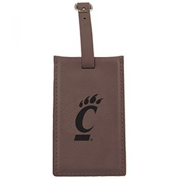 University of Cincinnati -Leatherette Luggage Tag-Brown