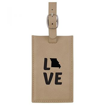 Missouri-State Outline-Love-Leatherette Luggage Tag -Tan