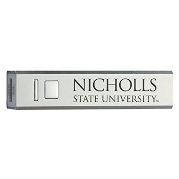 Nicholls State University - Portable Cell Phone 2600 mAh Power Bank Charger - Silver