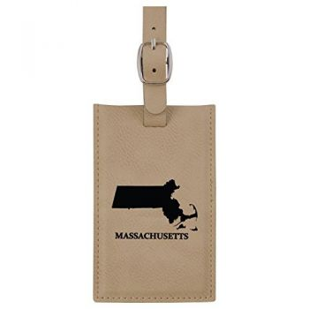 Massachusetts-State Outline-Leatherette Luggage Tag -Tan
