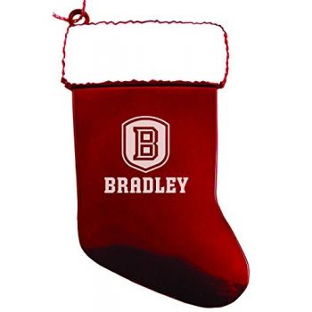 Bradley University - Christmas Holiday Stocking Ornament - Red