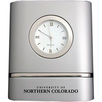 University of Northern Colorado- Two-Toned Desk Clock -Silver