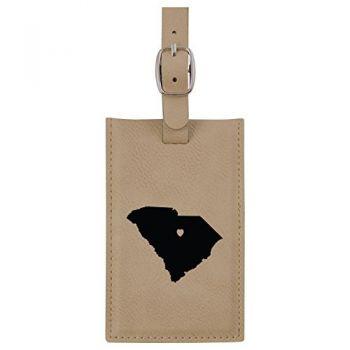 South Carolina-State Outline-Heart-Leatherette Luggage Tag -Tan