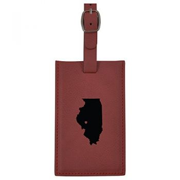 Illinois-State Outline-Heart-Leatherette Luggage Tag -Burgundy