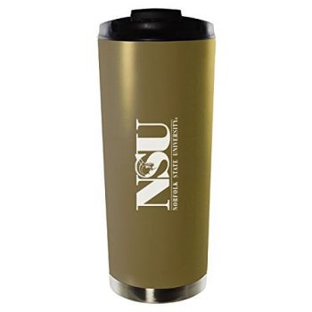 Norfolk State University-16oz. Stainless Steel Vacuum Insulated Travel Mug Tumbler-Gold