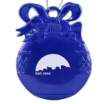 Pewter Christmas Bulb Ornament - San Jose City Skyline