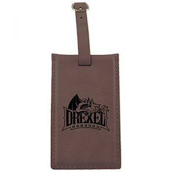 Drexel University -Leatherette Luggage Tag-Brown