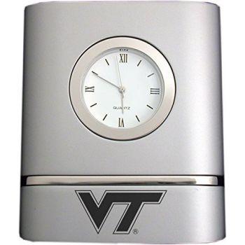 Virginia Tech- Two-Toned Desk Clock -Silver