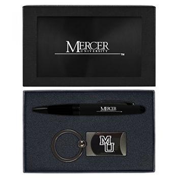 Mercer University -Executive Twist Action Ballpoint Pen Stylus and Gunmetal Key Tag Gift Set-Black