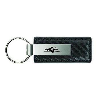 Longwood University-Carbon Fiber Leather and Metal Key Tag-Grey