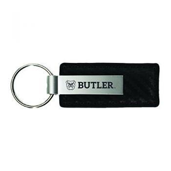 Butler University-Carbon Fiber Leather and Metal Key Tag-Black