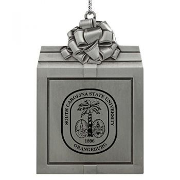 South Carolina State University -Pewter Christmas Holiday Present Ornament-Silver