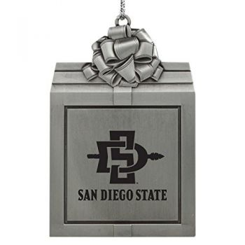 San Diego State University -Pewter Christmas Holiday Present Ornament-Silver