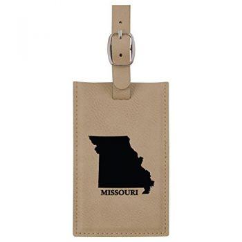 Missouri-State Outline-Leatherette Luggage Tag -Tan