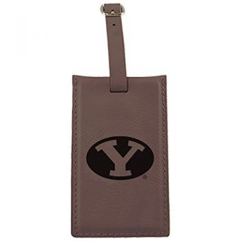 Brigham Young University -Leatherette Luggage Tag-Brown