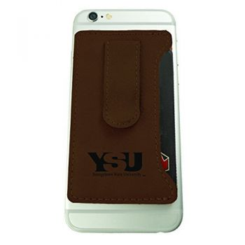 Youngstown State University -Leatherette Cell Phone Card Holder-Brown