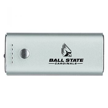 Ball State University -Portable Cell Phone 5200 mAh Power Bank Charger -Silver