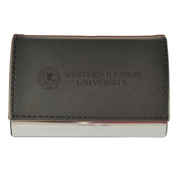 Velour Business Cardholder-Western Illinois University-Black
