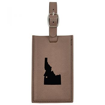 Idaho-State Outline-Heart-Leatherette Luggage Tag -Brown
