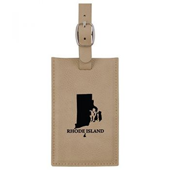 Rhode Island-State Outline-Leatherette Luggage Tag -Tan