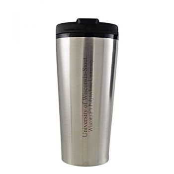 University of Wisconsin-Stout-16 oz. Travel Mug Tumbler-Silver