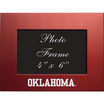 University of Oklahoma - 4x6 Brushed Metal Picture Frame - Red