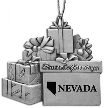 Nevada-State Outline-Pewter Gift Package Ornament-Silver