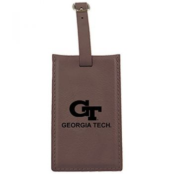 Georgia Institute of Technology -Leatherette Luggage Tag-Brown