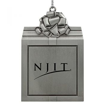 New Jersey institute of Technology-Pewter Christmas Holiday Present Ornament-Silver