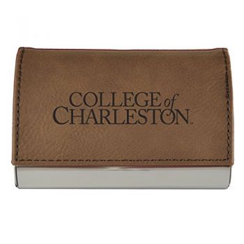 Velour Business Cardholder-College of Charleston-Brown