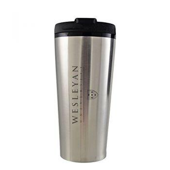Wesleyan University -16 oz. Travel Mug Tumbler-Silver