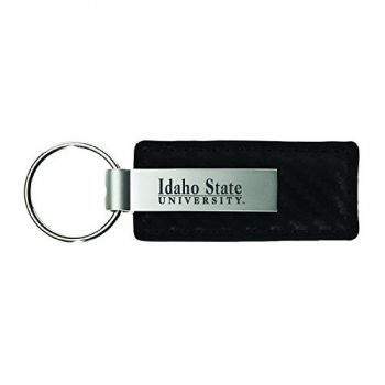 Idaho State University-Carbon Fiber Leather and Metal Key Tag-Black