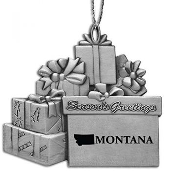Montana-State Outline-Pewter Gift Package Ornament-Silver