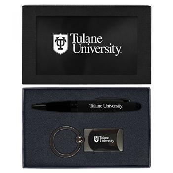 Tulane University -Executive Twist Action Ballpoint Pen Stylus and Gunmetal Key Tag Gift Set-Black