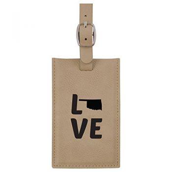 Oklahoma-State Outline-Love-Leatherette Luggage Tag -Tan