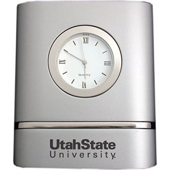 Utah State University- Two-Toned Desk Clock -Silver