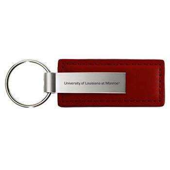 University of Louisiana at Monroe - Leather and Metal Keychain - Burgundy