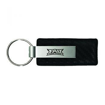 Florida Atlantic University-Carbon Fiber Leather and Metal Key Tag-Black