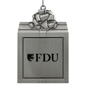 Fairleigh Dickinson University -Pewter Christmas Holiday Present Ornament-Silver