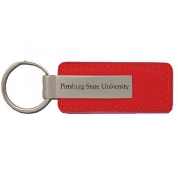 PittsBurg State University - Leather and Metal Keychain - Red