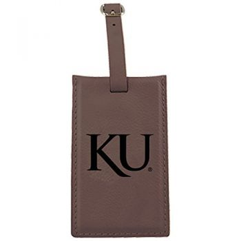 The University of Kansas-Leatherette Luggage Tag-Brown
