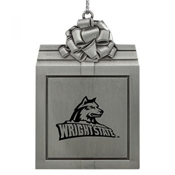 Wright State university -Pewter Christmas Holiday Present Ornament-Silver