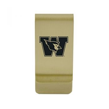 Weber State University|Money Clip with Contemporary Metals Finish|Solid Brass|High Tension Clip to Securely Hold Cash, Cards and ID's|Silver