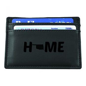 Oklahoma-State Outline-Home-European Money Clip Wallet-Black