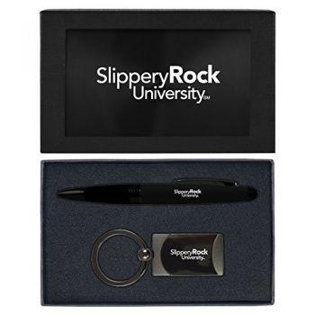 Slippery Rock University -Executive Twist Action Ballpoint Pen Stylus and Gunmetal Key Tag Gift Set-Black